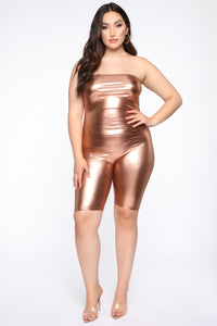 Faux The Money PU Biker Romper - Rose Gold