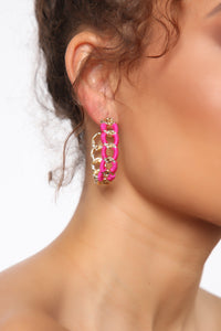 Updated Chain Hoop Earrings - Hot Pink