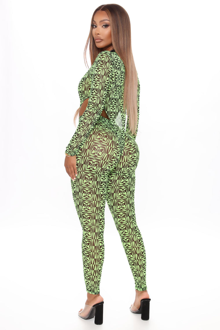 Would Like To Get To Know You Legging Set - Lime