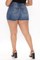 Lorana Booty Lifting Frayed Denim Shorts - Medium Blue Wash