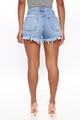 The Lucky One Frayed Denim Shorts - Light Blue Wash