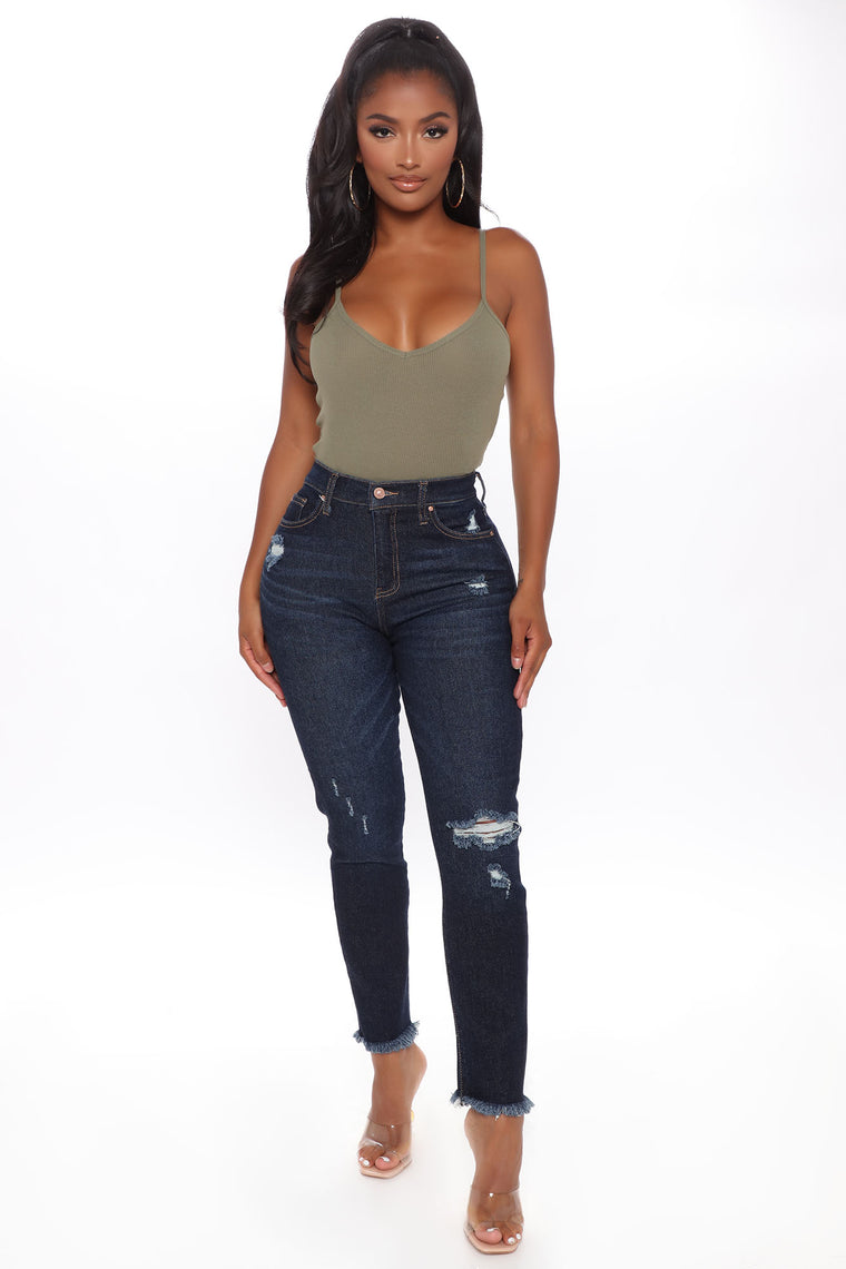 Going Steady Distressed Mom Jeans - Dark Wash