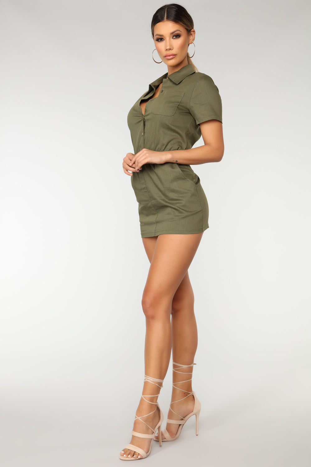 Airshow Collared Dress - Olive