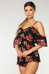 Floral Dreams Romper - Black