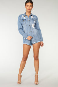 Kaia Distressed Denim Jacket - Medium Blue Wash