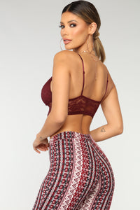 Its Just Us Lace Bralette - Wine