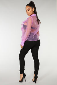 Take Her Out Ruffle Top - Orchid