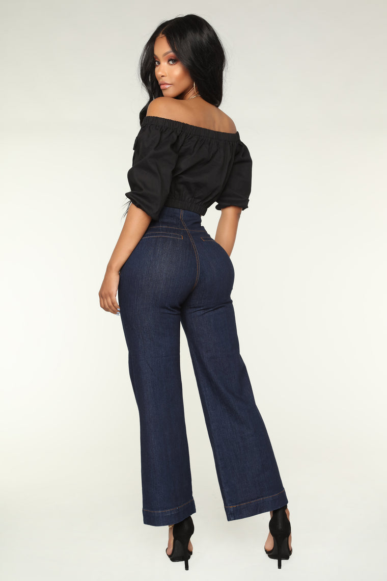 Get Down With It Gaucho Jeans - Dark Denim