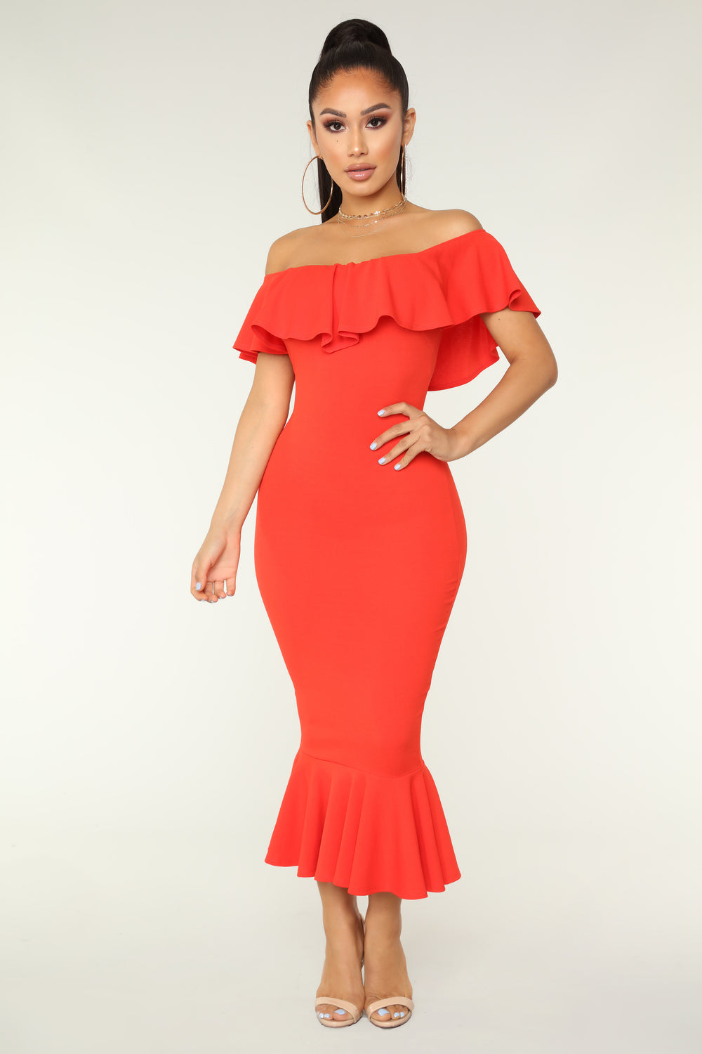 Moments Like This Ruffle Dress - Coral Red