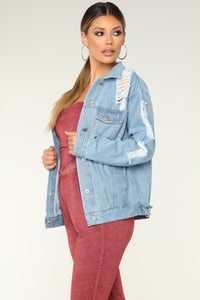 Saturday Distressed Denim Jacket - Light Blue Wash
