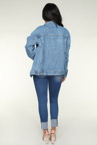 Saturday Distressed Denim Jacket - Medium Blue Wash