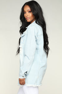Kaia Distressed Denim Jacket - Light Blue Wash