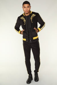 Monarch Track Jacket - Black/Gold Angle 3