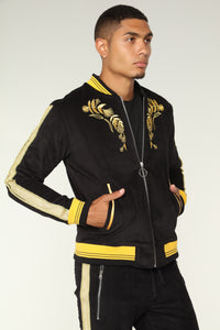 Monarch Track Jacket - Black/Gold Angle 4