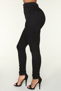 Luxe Ultra High Waist Skinny Jeans - Black