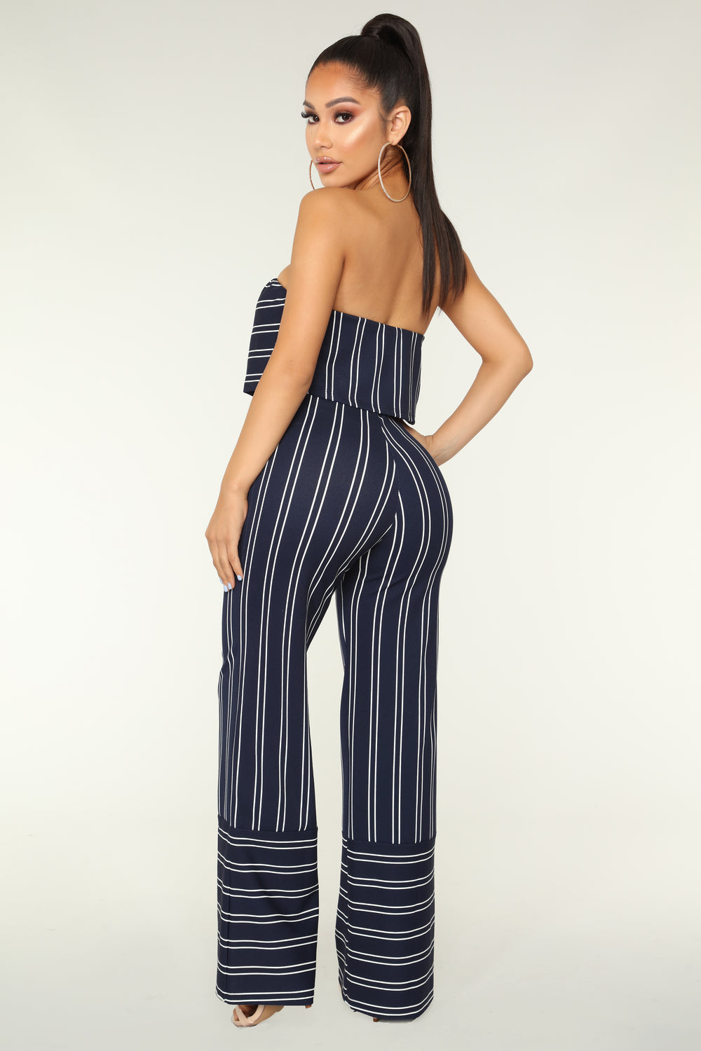 Friend Zone Stripe Jumpsuit - Navy