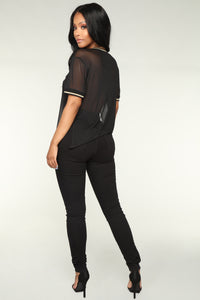 Stay In The Game Mesh Top - Black