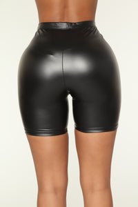 Black Heart Biker Short Set - Black