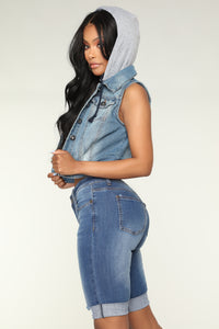 Bella Hooded Denim Jacket - Medium Wash