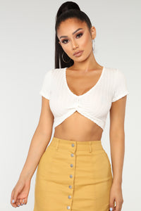Twisting Words Crop Top - White