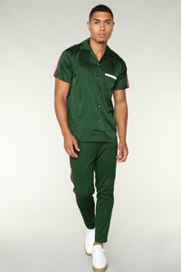 Olympic Crop Track Pants - Green