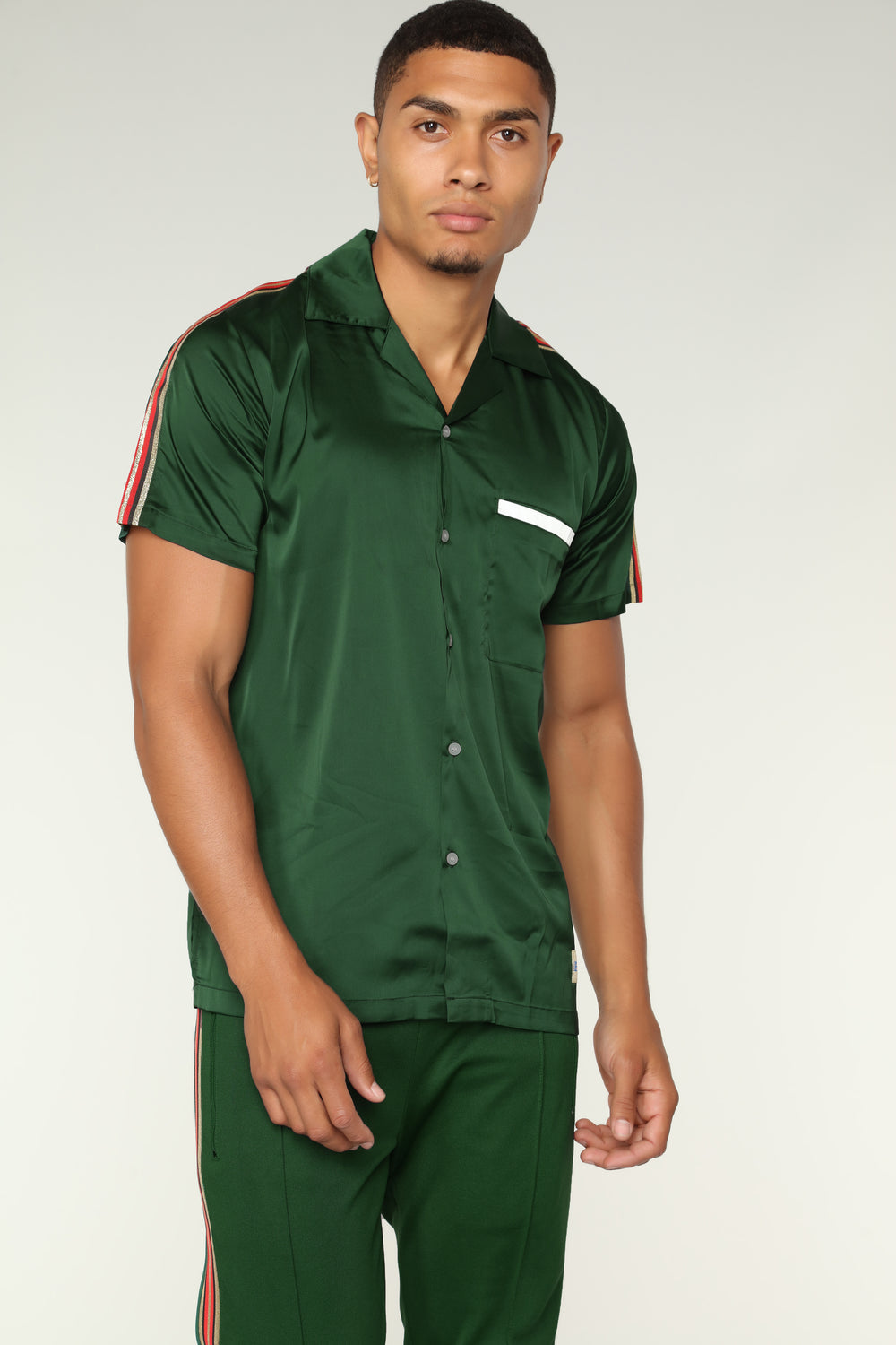 Olympic Track Short Sleeve Woven Top - Green
