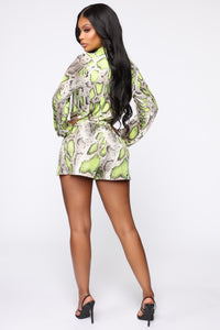 Professional Party Animal Snake Romper - Taupe/Neon Yellow Angle 4