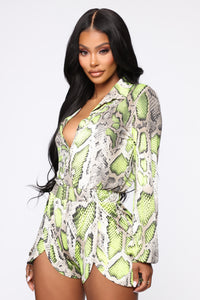 Professional Party Animal Snake Romper - Taupe/Neon Yellow Angle 1
