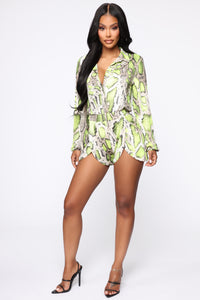 Professional Party Animal Snake Romper - Taupe/Neon Yellow Angle 2