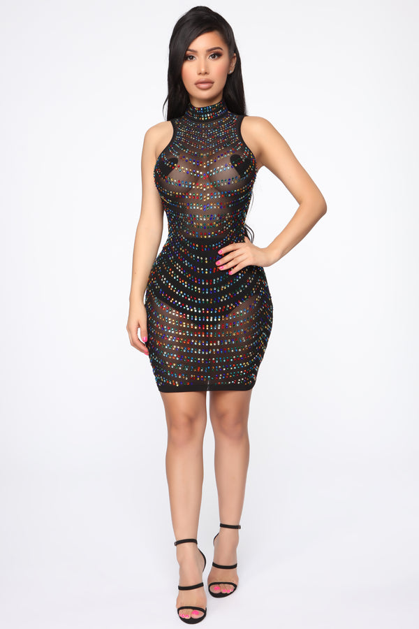 e0723ac9633 Open To Attention Rhinestone Mini Dress - Black