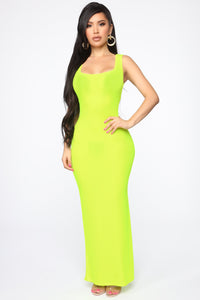 Mulberry Street Maxi Dress - Neon Lime