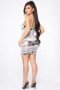 Read All About It Mini Dress - Off White/Black