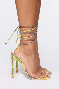 Tied To You Heeled Sandals - MultiColor Snake