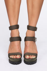 Long Gone Heeled Sandals - Olive