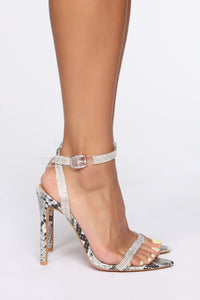 Forever Impressed Heeled Sandals - Grey Snake