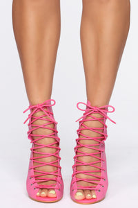 Don't Wake Me Up Booties - Fuchsia Angle 2