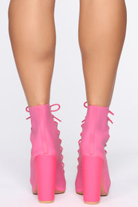 Don't Wake Me Up Booties - Fuchsia Angle 4