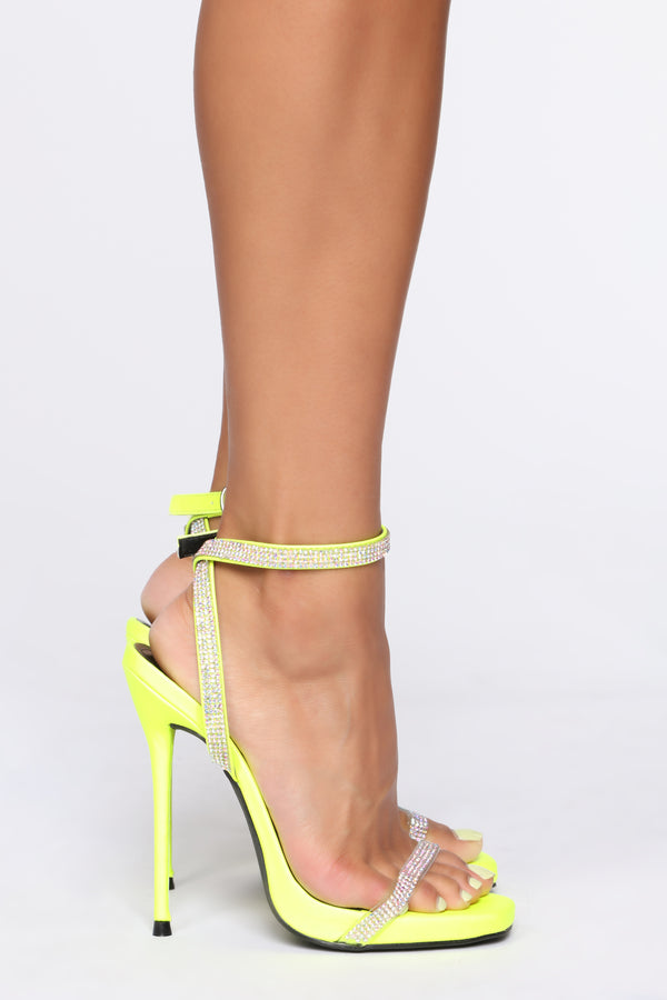 4a4b9c11f9 Breaking Barriers Heeled Sandals - Neon Yellow