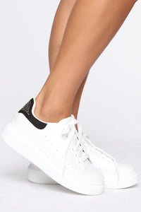 Lace Me Up Sneakers - White/Black