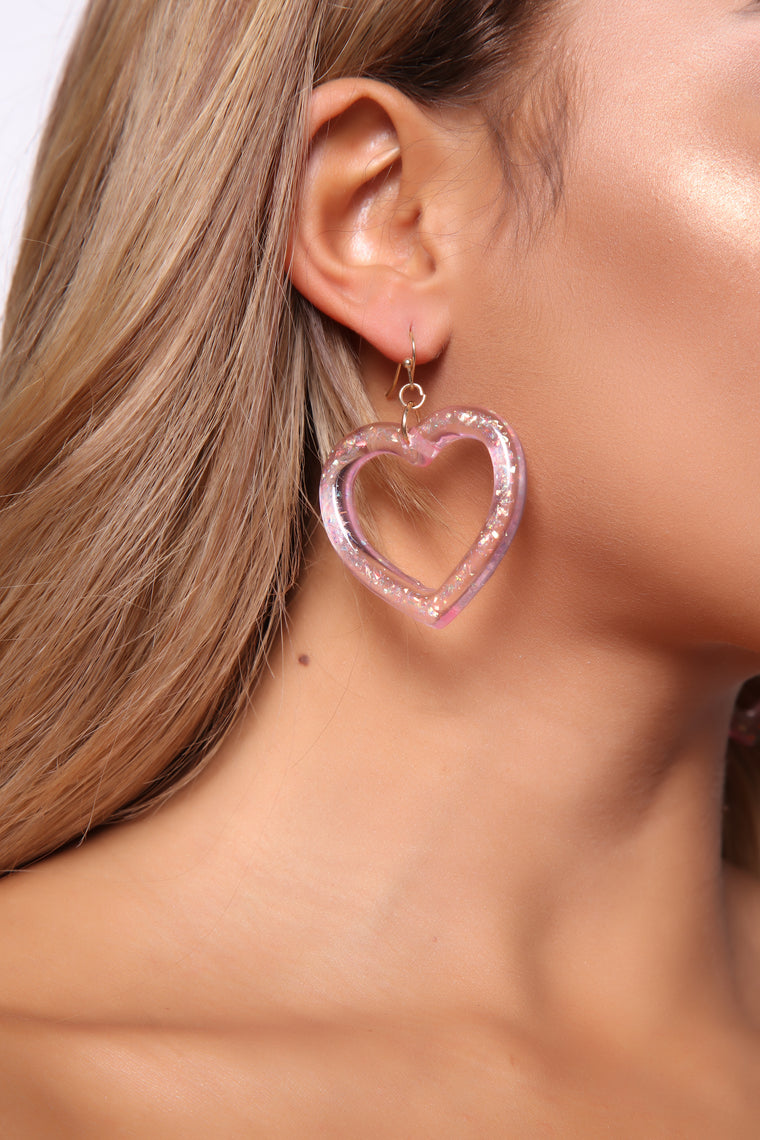 You Stole My Heart Earrings   Pink by Fashion Nova
