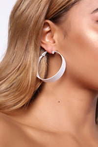 Flat Line Hoop Earrings - White Angle 2