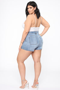 Never Enough Button Front Denim Shorts - LightBlueWash Angle 12
