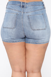 Never Enough Button Front Denim Shorts - LightBlueWash