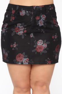 Dominique Denim Skirt Set - Black Floral