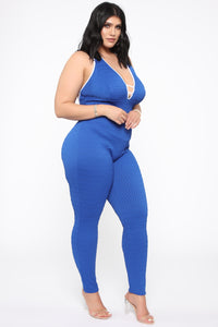 Feel The Rush Textured Jumpsuit - Royal/White