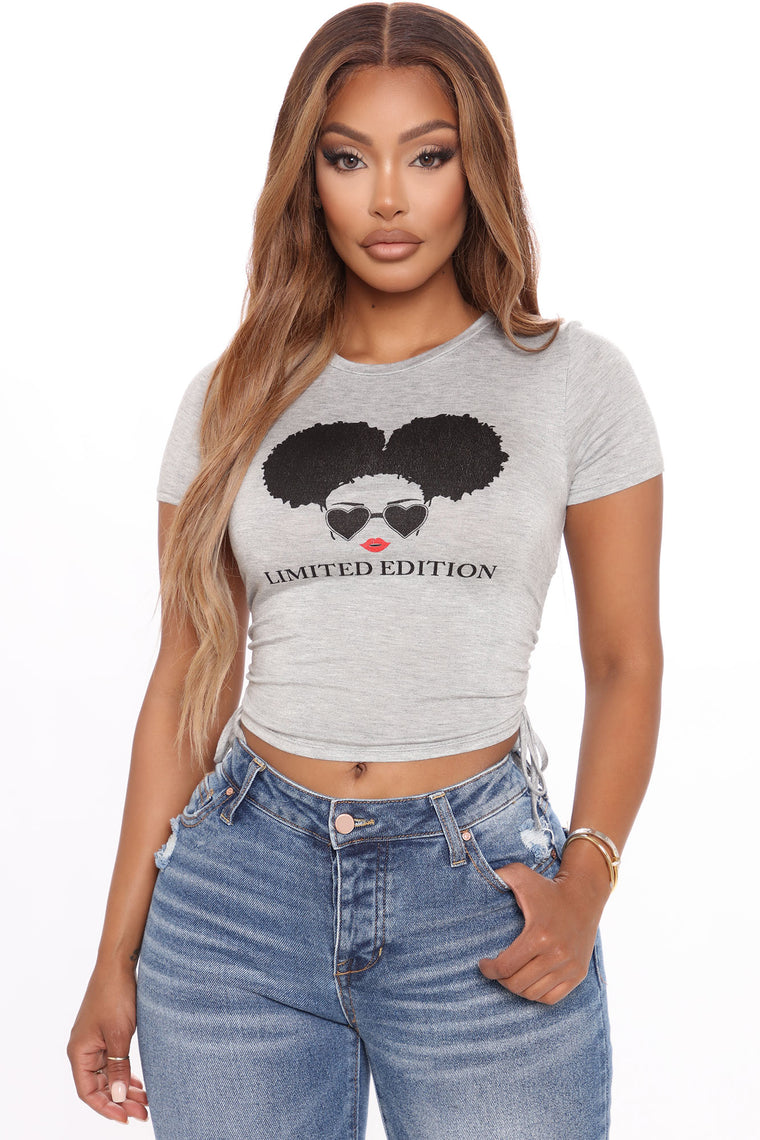 Embrace The Hair Top - Heather Grey