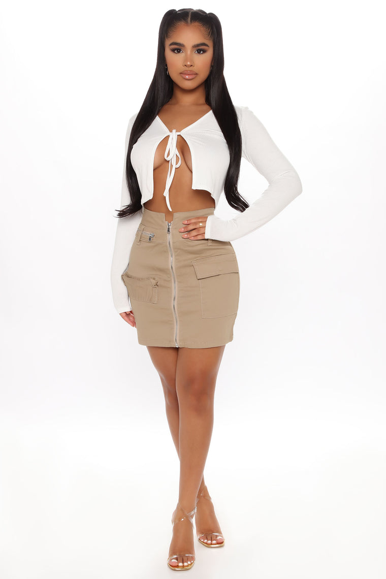 Playing It Cool Mini Skirt - Khaki