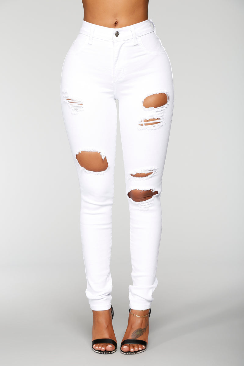 Little White Lies Distressed Jeans - White