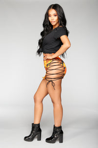 Hotter Than You Lace Up Camo Skirt - Black/Orange