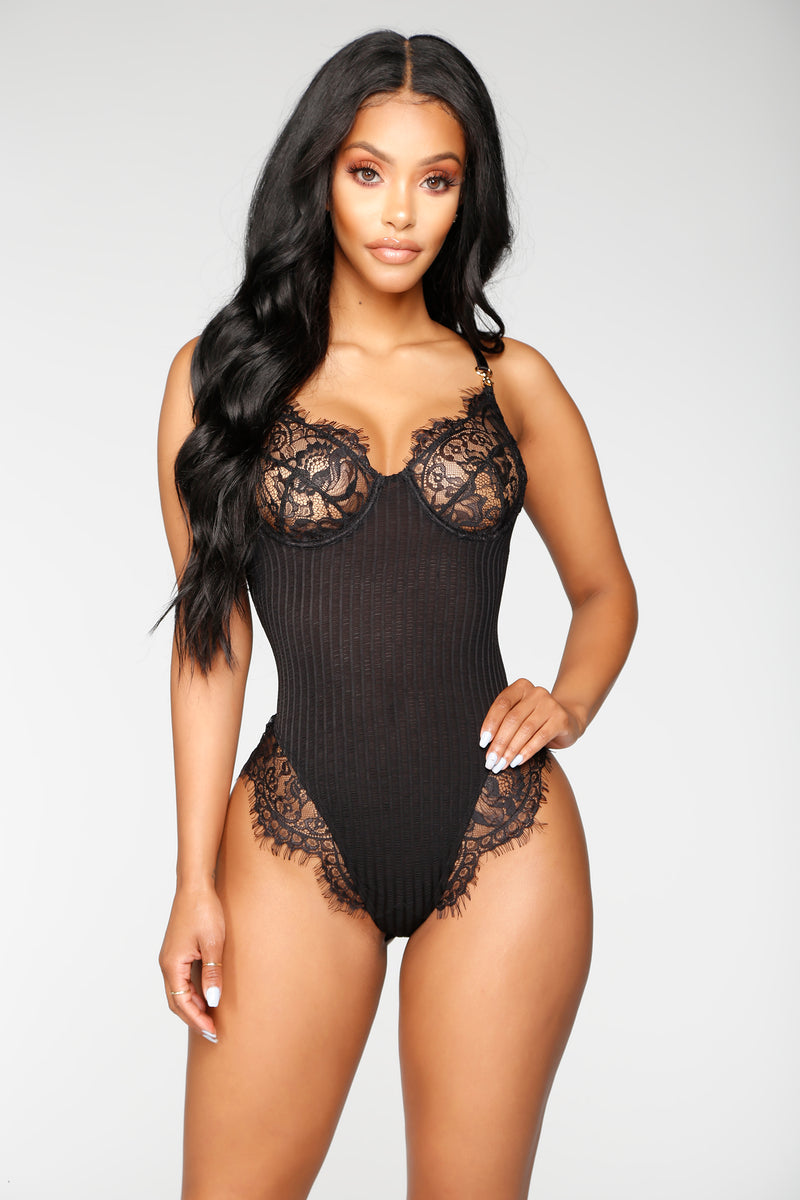 With Pleasure Lace Teddy - Black